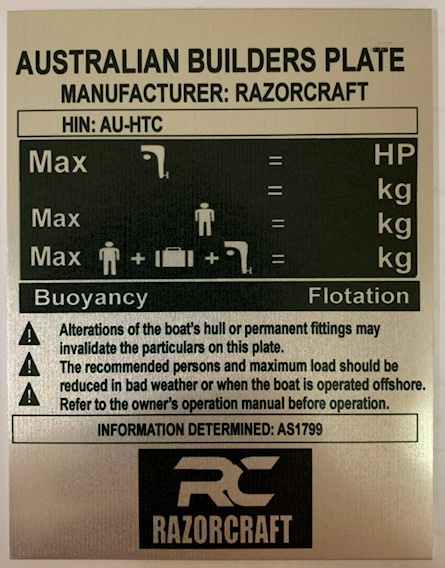 Boat Compliance Plate